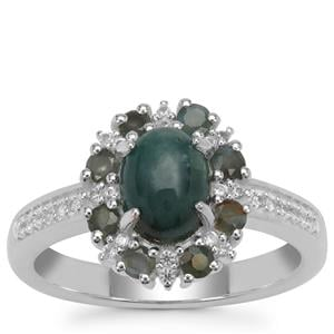 Grandidierite, Alexandrite Ring with White Zircon in Sterling Silver 1.90cts