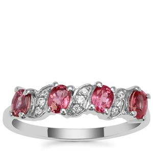 Padparadscha Sapphire Ring with White Zircon in 9K White Gold 1cts