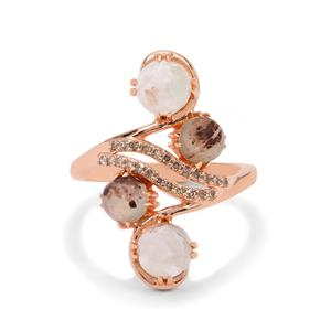 Aquaprase™ Ring with Champagne Diamond in Rose Gold Plated Sterling Silver 2.85cts