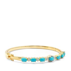 Sleeping Beauty Turquoise Bangle with White Zircon in Gold Plated Sterling Silver 3.11cts