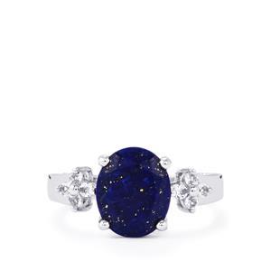 Sar-i-Sang Lapis Lazuli & White Topaz Sterling Silver Ring ATGW 3.67cts
