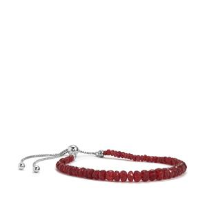 22.50cts Malagasy Ruby Sterling Silver Graduated Bead Slider Bracelet (F)