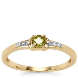 Ambanja Demantoid Garnet Ring with Diamond in 10K Gold 0.27ct