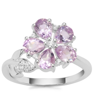 Moroccan Amethyst Ring with White Zircon in Sterling Silver 1.59cts