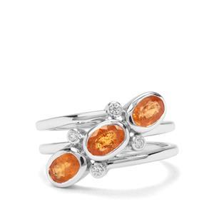 Mandarin Garnet & White Zircon Sterling Silver Ring ATGW 2.25cts