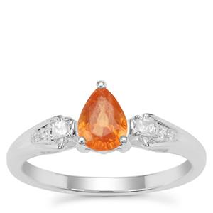 Mandarin Garnet Ring with White Zircon in Sterling Silver 1.02cts