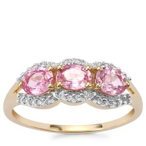Sakaraha Pink Sapphire Ring with White Zircon in 10K Gold 1.42cts