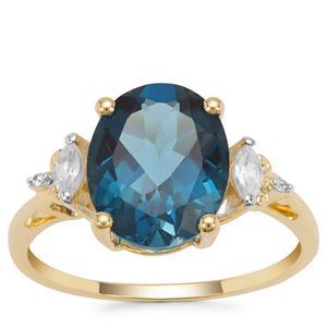 Marambaia London Blue Topaz Ring with White Zircon in 9K Gold 4.69cts