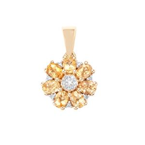 Ouro Preto Imperial Topaz Pendant with Diamond in 9K Gold 1.24cts