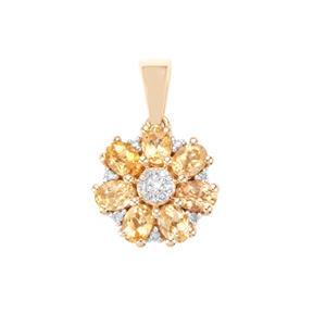 Ouro Preto Imperial Topaz & Diamond 10K Gold Pendant ATGW 1.24cts