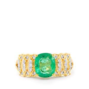 Zambian Emerald & Diamond 18K Gold Tomas Rae Ring MTGW 1.90cts