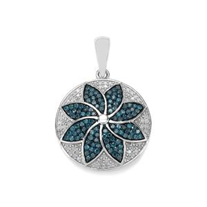 Blue Diamond Pendant with White Diamond in Sterling Silver 1.40ct