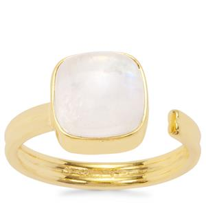'Free Spirit' Rainbow Moonstone Ring in Gold Plated Sterling Silver 3.78cts