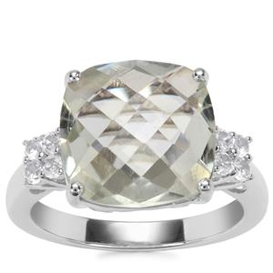 Prasiolite Ring with White Topaz in Sterling Silver 6.28cts