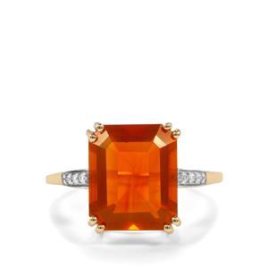 AAA Orange American Fire Opal & White Zircon 9K Gold Ring ATGW 3.90cts