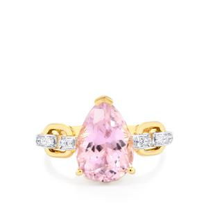Mawi Kunzite Ring with Diamond in 18K Gold 5.46cts
