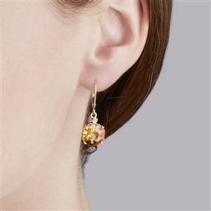 Lehrer QuasarCut Rio Golden Citrine & White Zircon 10K Gold Earrings ATGW 6.43cts