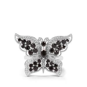 2ct Black Spinel Sterling Silver Butterfly Ring