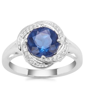 Colour Change Fluorite Ring with White Zircon in Sterling Silver 2.29cts