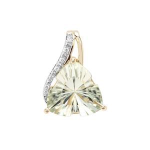 Lehrer Infinity Cut Prasiolite Pendant with Diamond in 9K Gold 5.47cts
