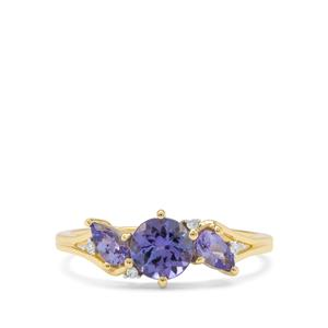 AA Tanzanite Ring with Diamond in 9K Gold 1.10cts