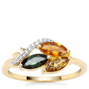 Multi-Colour Tourmaline Ring with White Zircon in Gold Plated Sterling Silver 1.11cts