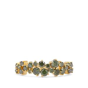 3/4ct Green Diamond Gold Tone Sterling Silver Ring