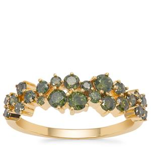 Green Diamond Ring in Gold Tone Sterling Silver 0.95ct
