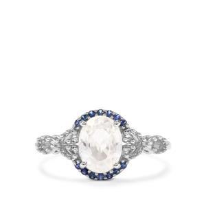 Singida Tanzanian Zircon & Sri Lankan Sapphire 9K White Gold Ring ATGW 1.96cts