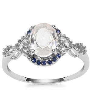 Singida Tanzanian Zircon Ring with Sri Lankan Sapphire in 9K White Gold 1.96cts
