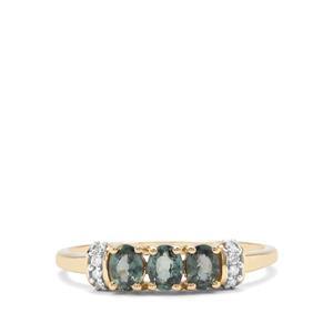 Nigerian Blue Sapphire & Diamond 9K Gold Ring ATGW 0.73cts