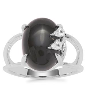 Black Onyx Ring with White Zircon in Sterling Silver 5.81cts