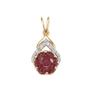 Malagasy Ruby Pendant with Diamond in 9K Gold 3cts (F)
