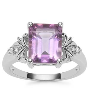 Zambian Amethyst Ring with White Zircon in Sterling Silver 3.13cts
