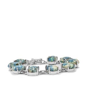 Azurite Diopside Bracelet in Sterling Silver 67.50cts