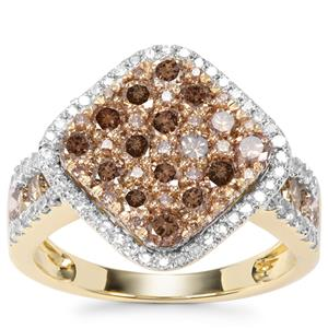 Champagne Diamond Ring with White Diamond in 9K Gold 1.66ct