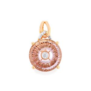 Lehrer TorusRing Rose De France Amethyst Pendant with Diamond in 10k Rose Gold 4.21cts