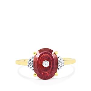 Lehrer TorusRing Malagasy Ruby Ring with Diamond in 10K Gold 2.72cts (F)