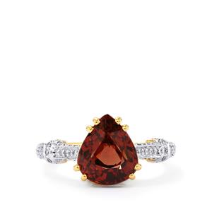Bekily Color Change Garnet Ring with Diamond in 18k Gold 5.32cts