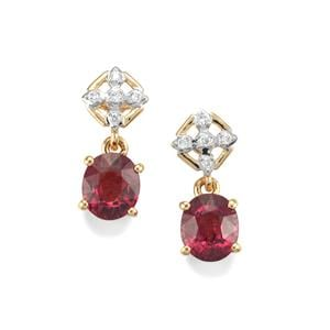 Malawi Garnet Earrings with Diamond in 18K Gold 2.82cts