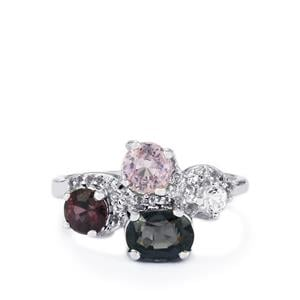 Burmese Multi-Color Spinel Ring with White Topaz in Sterling Silver 2.74cts