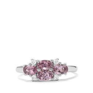 Mahenge Purple Spinel & White Zircon 10K White Gold Ring ATGW 1.23cts