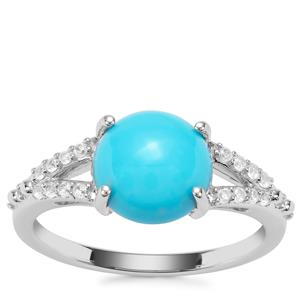 Sleeping Beauty Turquoise Ring with White Zircon in Sterling Silver 2.52cts