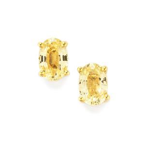 1.23ct Natural Golden Sapphire 9K Gold Earrings