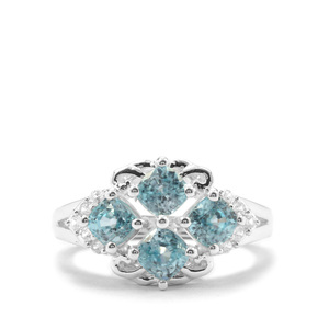 Ratanakiri Blue Zircon Ring with White Zircon in Sterling Silver 3.26cts