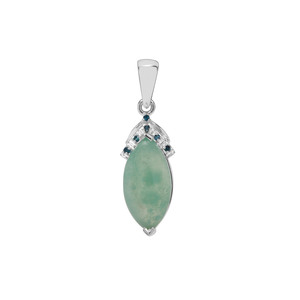 Gem-Jelly Aquaprase™ Pendant with Blue Diamond in Sterling Silver 3.77cts