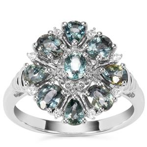 Natural Umba Sapphire Ring with White Zircon in Sterling Silver 2.29cts