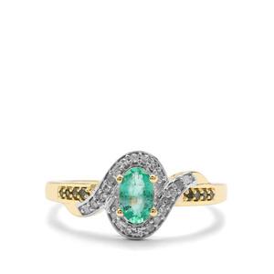 Zambian Emerald, Green & White Diamond 9K Gold Ring ATGW 0.50cts