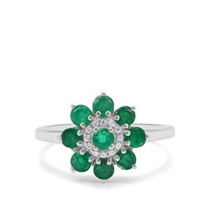 Sandawana Emerald Ring with White Zircon in Sterling Silver 1.10cts