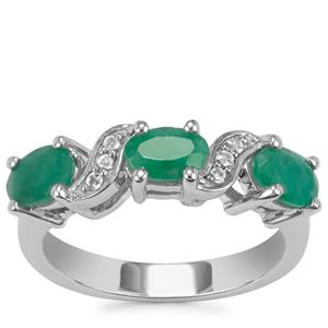 Carnaiba Brazilian Emerald Ring with White Topaz in Sterling Silver 2.48cts